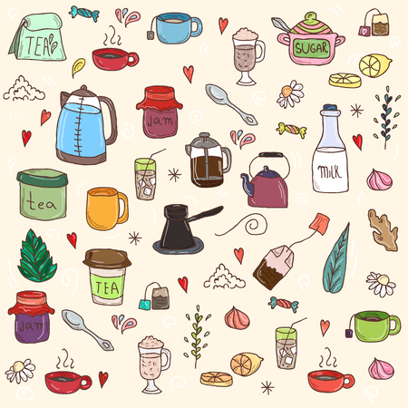 cappucino: Tea and all stuff - Hand-drawn seamless vector pattern.