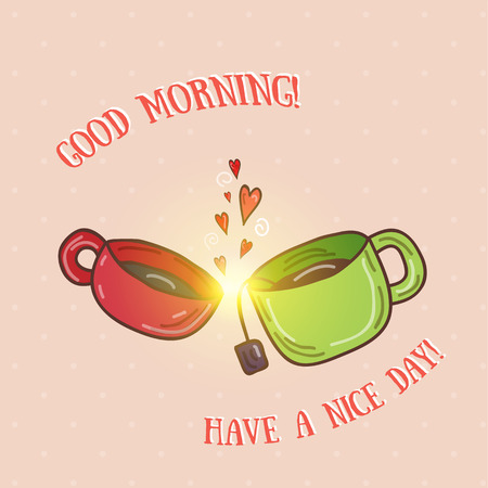 Good morning - kissing cups vector illustration.
