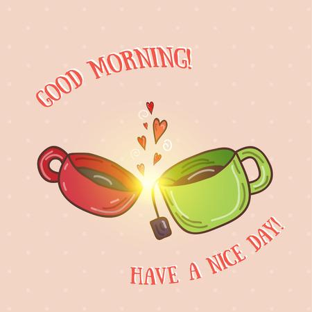 Good morning - kissing cups vector illustration.