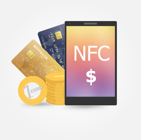 near: Flat design style vector illustration of modern smartphone with processing of mobile payments from credit card on the screen. Near field communication technology concept. Isolated on red background Illustration