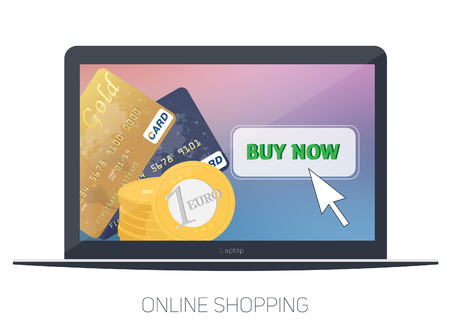 On line store. Sale, Laptop and smart phone with awning