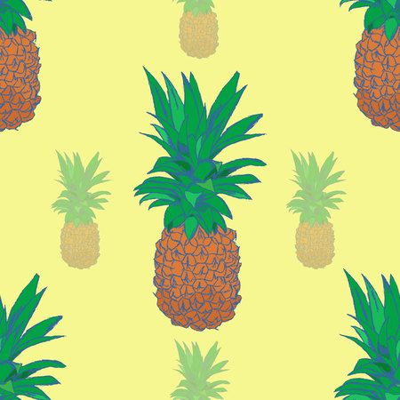 Sketchy style pineapple seamless pattern. Vector