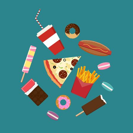 junk: Flat style junk food icons. Illustration