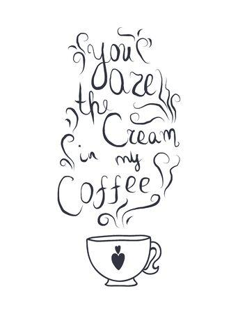 romantic: Coffe cream romantic lettering for print.