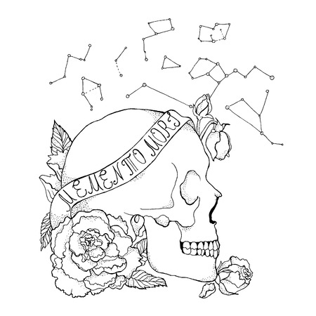 Old school skull tattoo. Great for print and your design. Line and roses.