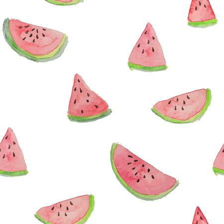 handiwork: Watermelon vector seamless watercolor pattern, juicy piece, summer composition of red slices of watermelon. handiwork.. For you designs.