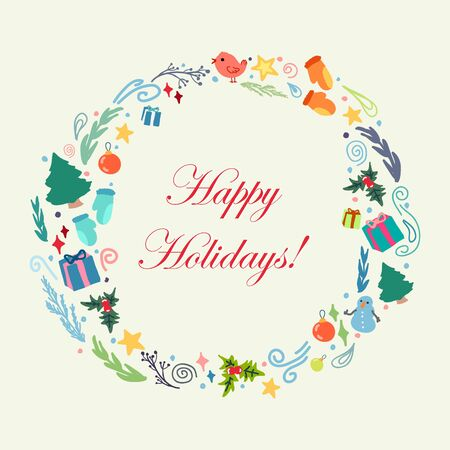 happy holidays: Merry Christmas and Happy New year celebration design.