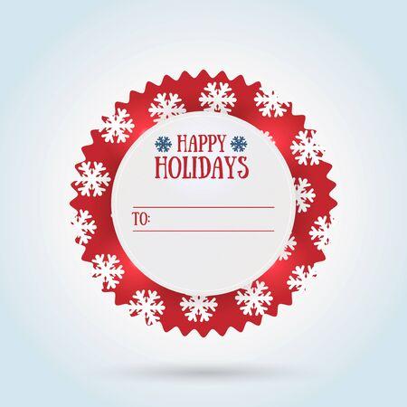 Happy holidays gift label design.