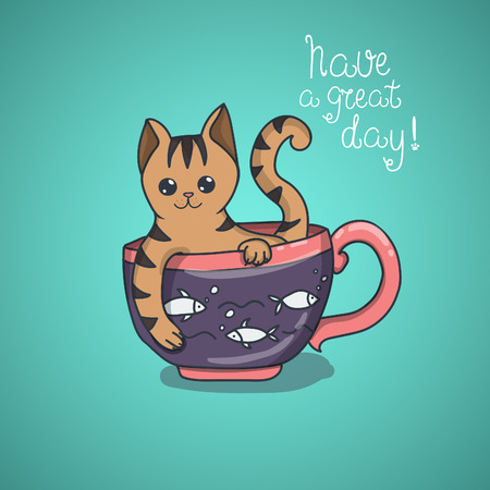 to have: Have a nice day cute cat doodle. Illustration