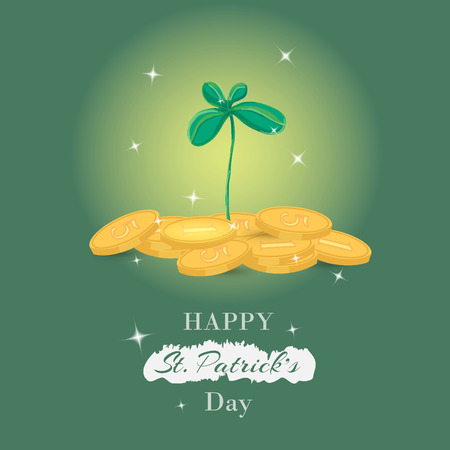 irish pub label: Happy St. Patricks Day greetings typography design.