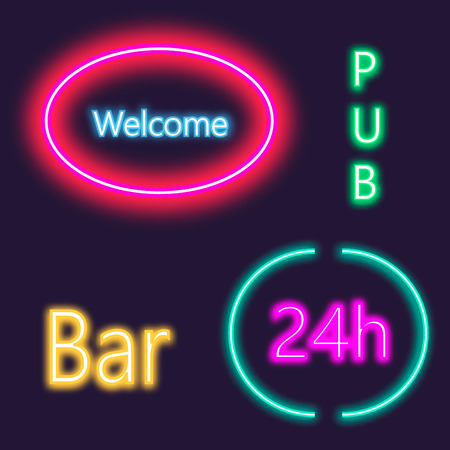 open type font: Neon lightning signboard Bar, welcome, pub. White vector brick wall background. Illustration