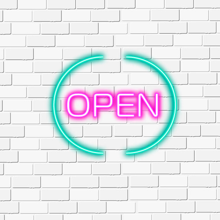 open type font: Neon lightning signboard Open. White vector brick wall background. Illustration