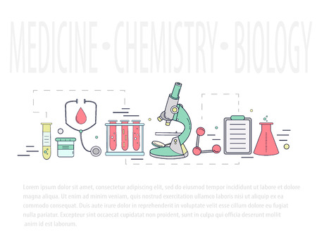 Medical science chemistry hand-drawn design vector. Иллюстрация