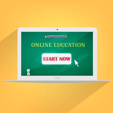 Online education concept laptop design.