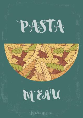 Hand-drawn italian pasta fusilli background. Иллюстрация