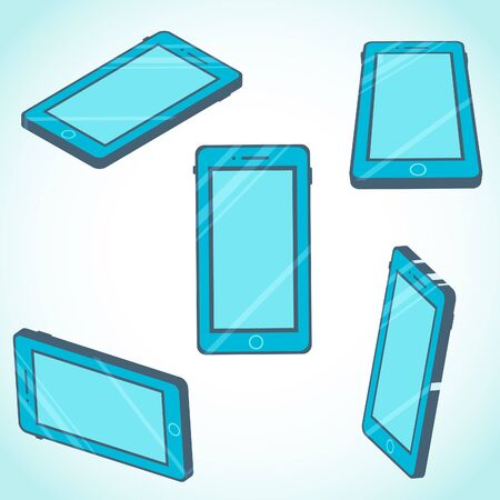 3d isometric mobile phone design in flat style.