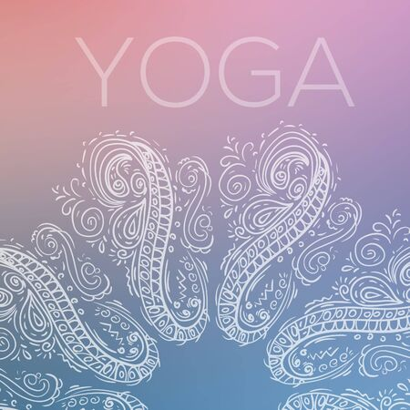 Outlined circular geometric symmetrical ornament over colorful blurred background Yoga.