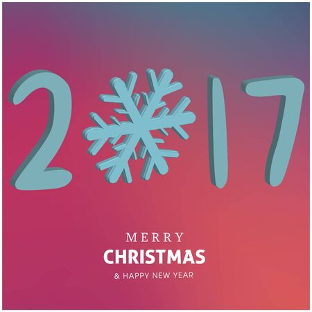 Happy holidays Merry Christmas and Happy new year colorful design 2017. Иллюстрация