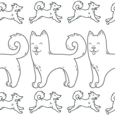akita: Cute cartoon doodle dog hand-drawn character.