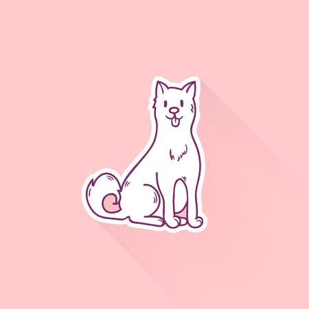 Cute cartoon dog drawing in doodle style. Great print. Иллюстрация