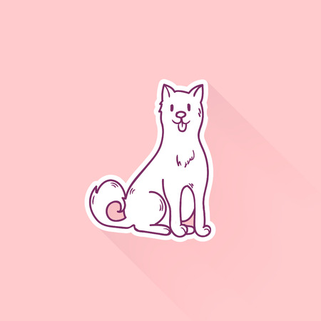 Cute cartoon dog drawing in doodle style. Great print. Illustration