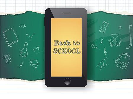Back to school sale design. Mobile phone and doodles. Иллюстрация