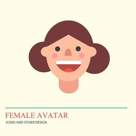 Smiley woman avatar icon in flat style.