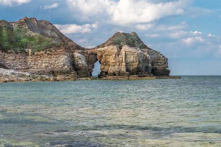 groynes: Overlooking Thornwick Bay Flamborough Yorkshire England UK.