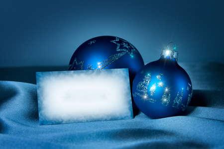 tonalit�: Carte postale de f�licitations de No�l et de nouvel an. Tonalit� bleue.