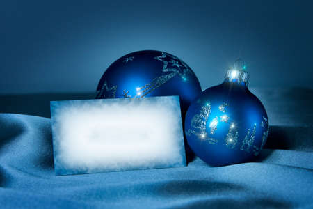 tonality: Postcard for New Year and Christmas congratulations. Blue tonality.