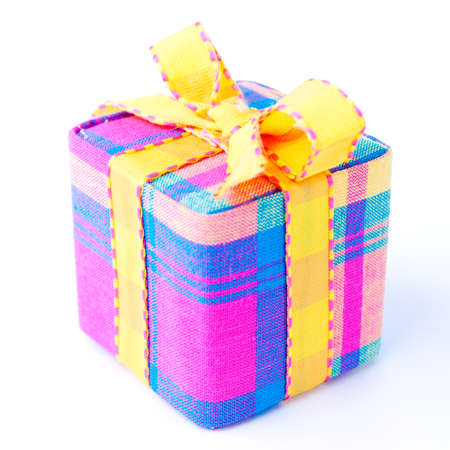 Colorful striped gift box isolated on a white background. Also available other perspectives in my portfolio. photo