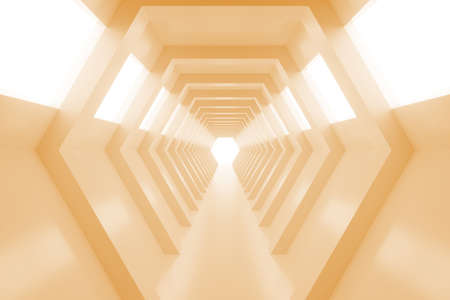 corridors: Abstract empty shining tunnel with light in the end. 3D Render. Tunnel with light at the end. Shiny glossy surface. Abstract background. Landscape orientation. 3D illustration. Stock Photo