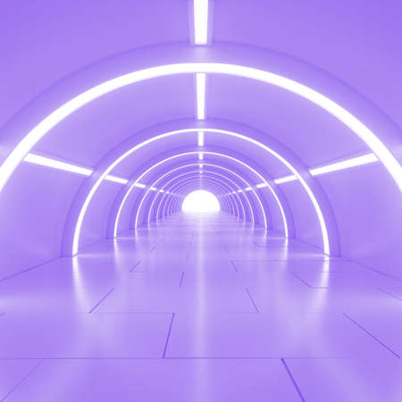 corridors: Abstract empty shining tunnel with light in the end. Wide tunnel with light at the end. Shiny glossy surface. Abstract background. Landscape aspect ratio. 3D illustration.