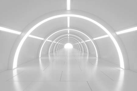 Abstract empty shining tunnel with light in the end. Wide tunnel with light at the end. Shiny glossy surface. Abstract background. Landscape aspect ratio. 3D illustration.