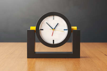 midday: Black and yellow clock on a wooden table. 3D illustration.