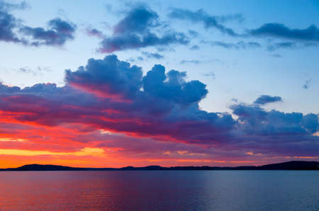 Sunset over lake photo