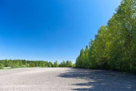 treeline: Dry farmland on early summer before summer planting