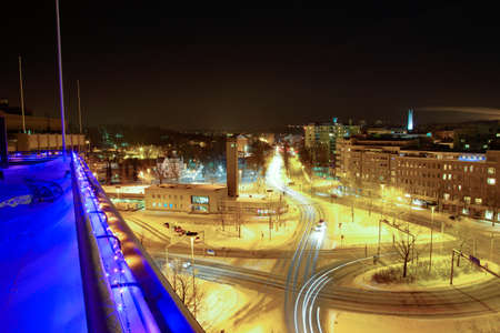bus station: Old bus station and roundabout on winternight in city of Lahti, Finland