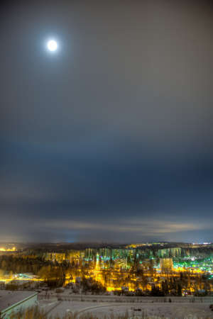 Cityscape of Lahti on cold winter night photo