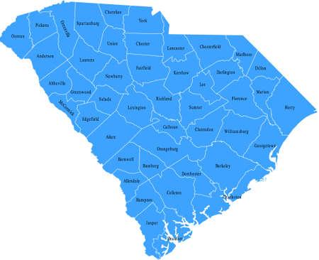 South Carolina Kaart