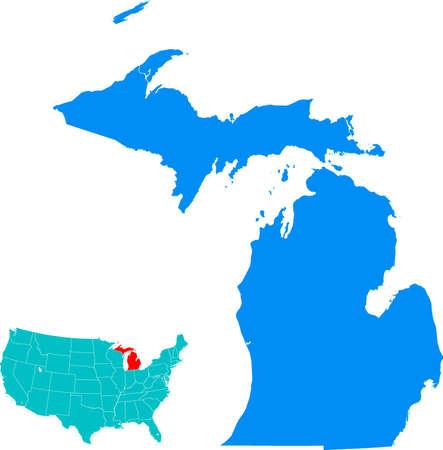 Michigan Kaart Stock Illustratie