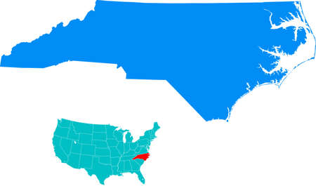 carolina: North Carolina Map Illustration