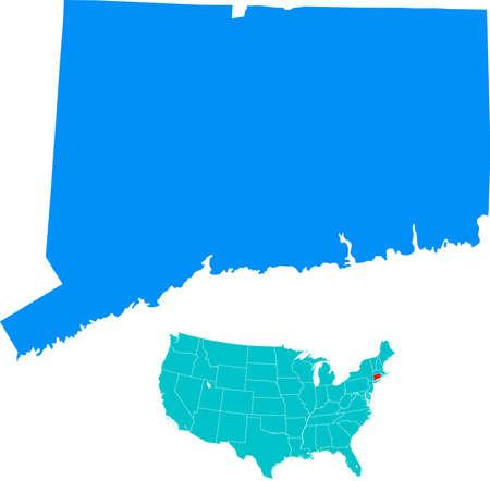 connecticut: Connecticut map Illustration