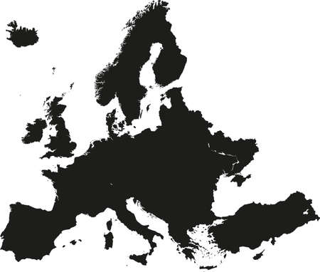 transportation silhouette: Europe Map