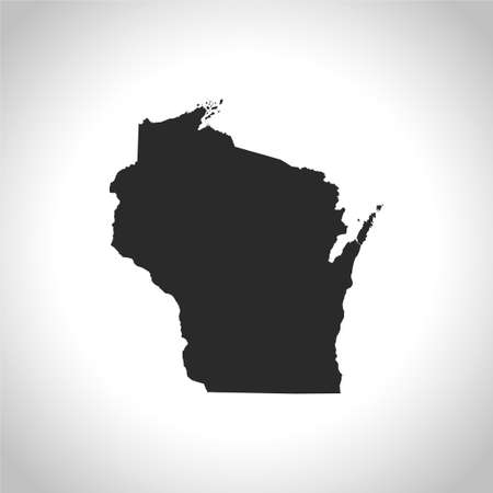 wisconsin: map of Wisconsin Illustration