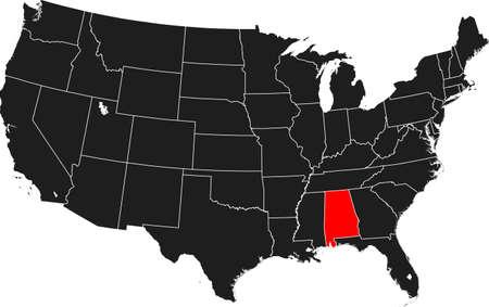 kaart van Alabama Stock Illustratie