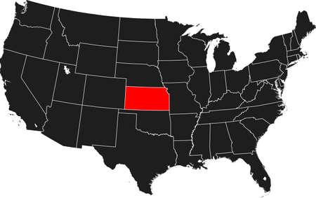 KANSAS: map of Kansas Illustration