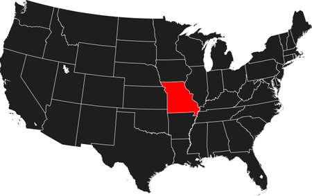 kaart van Missouri Stock Illustratie