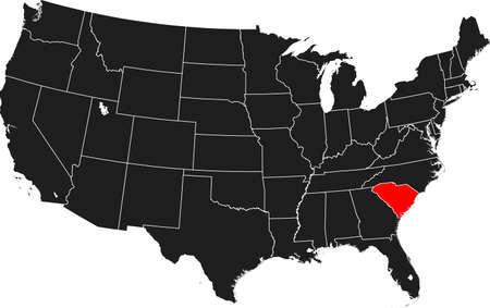 map of South Carolina Ilustrace
