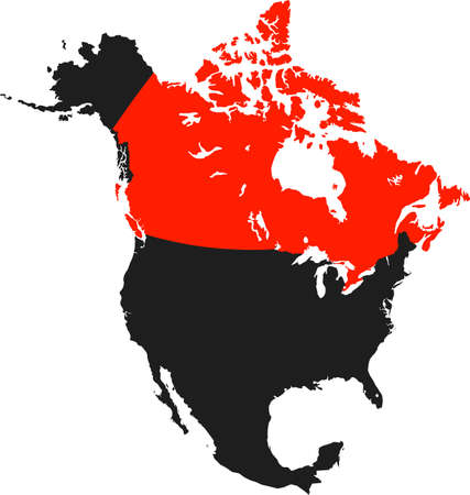 americas: map of canada Illustration
